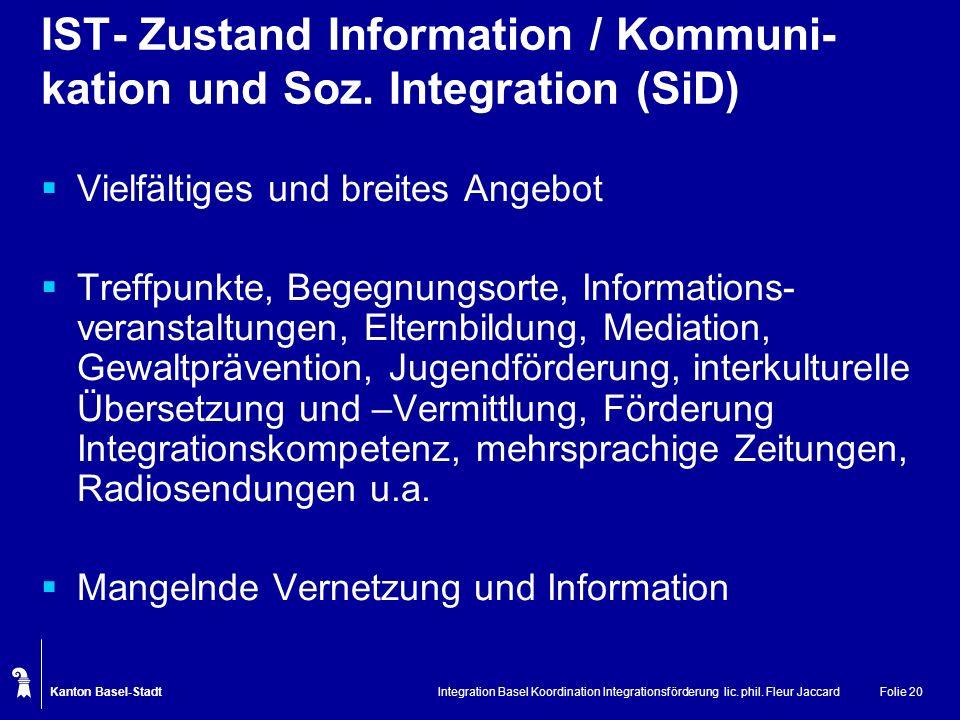 IST- Zustand Information / Kommuni-kation und Soz. Integration (SiD)
