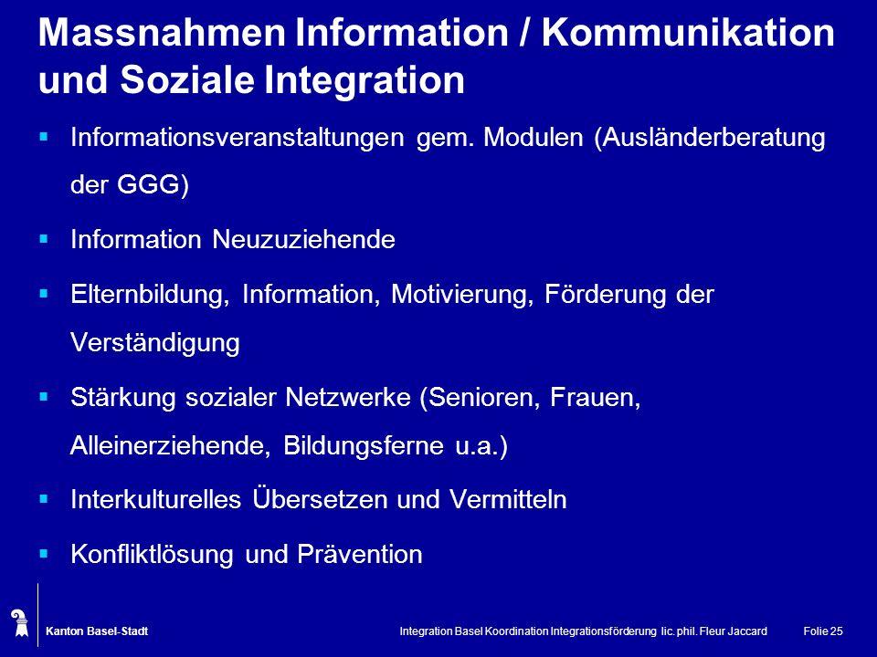 Massnahmen Information / Kommunikation und Soziale Integration