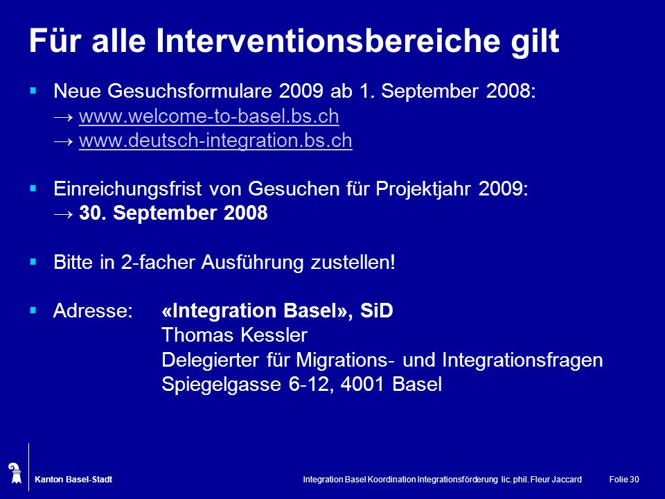 Für alle Interventionsbereiche gilt