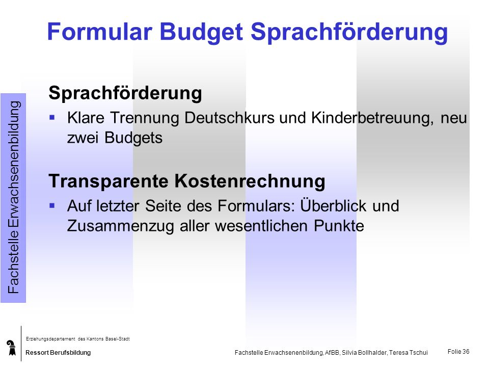 Formular Budget Sprachförderung