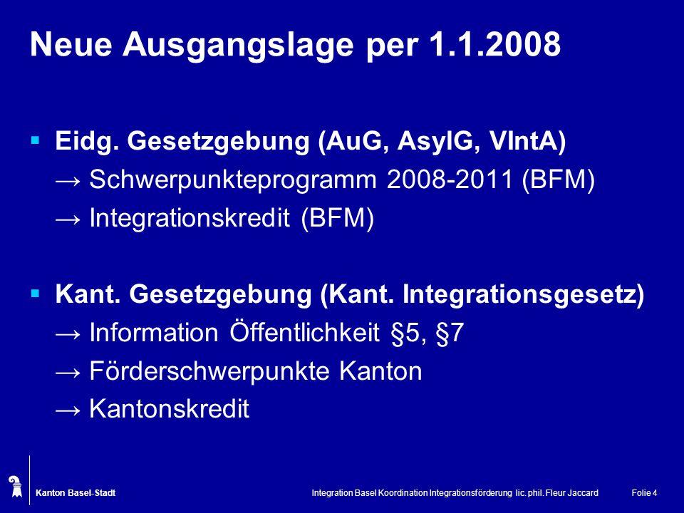 Neue Ausgangslage per 1.1.2008 Eidg. Gesetzgebung (AuG, AsylG, VIntA)