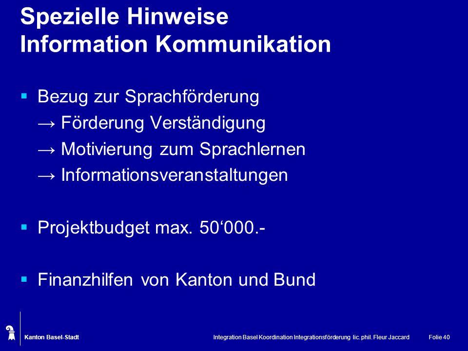 Spezielle Hinweise Information Kommunikation