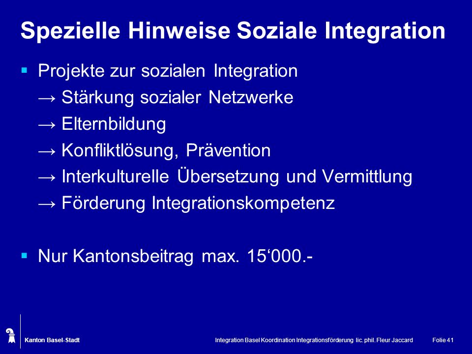 Spezielle Hinweise Soziale Integration