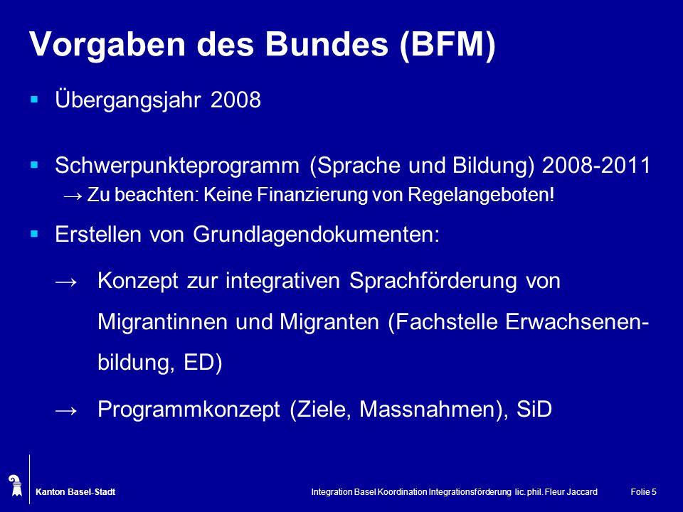 Vorgaben des Bundes (BFM)