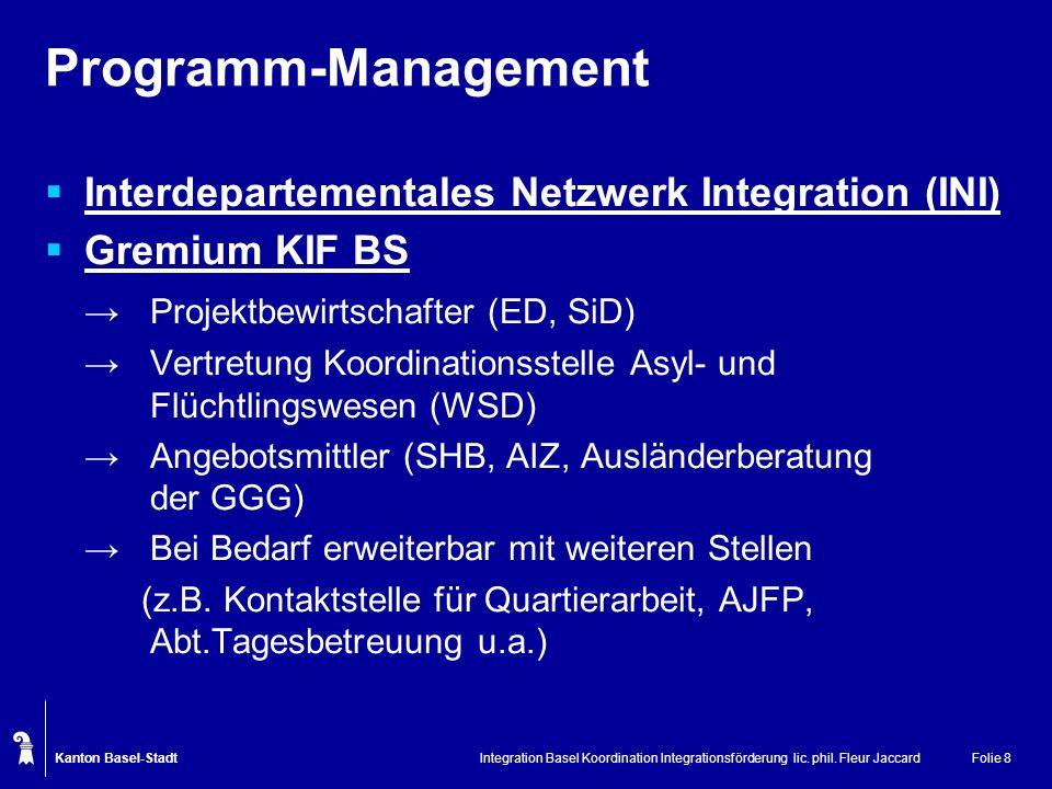 Programm-Management Interdepartementales Netzwerk Integration (INI)