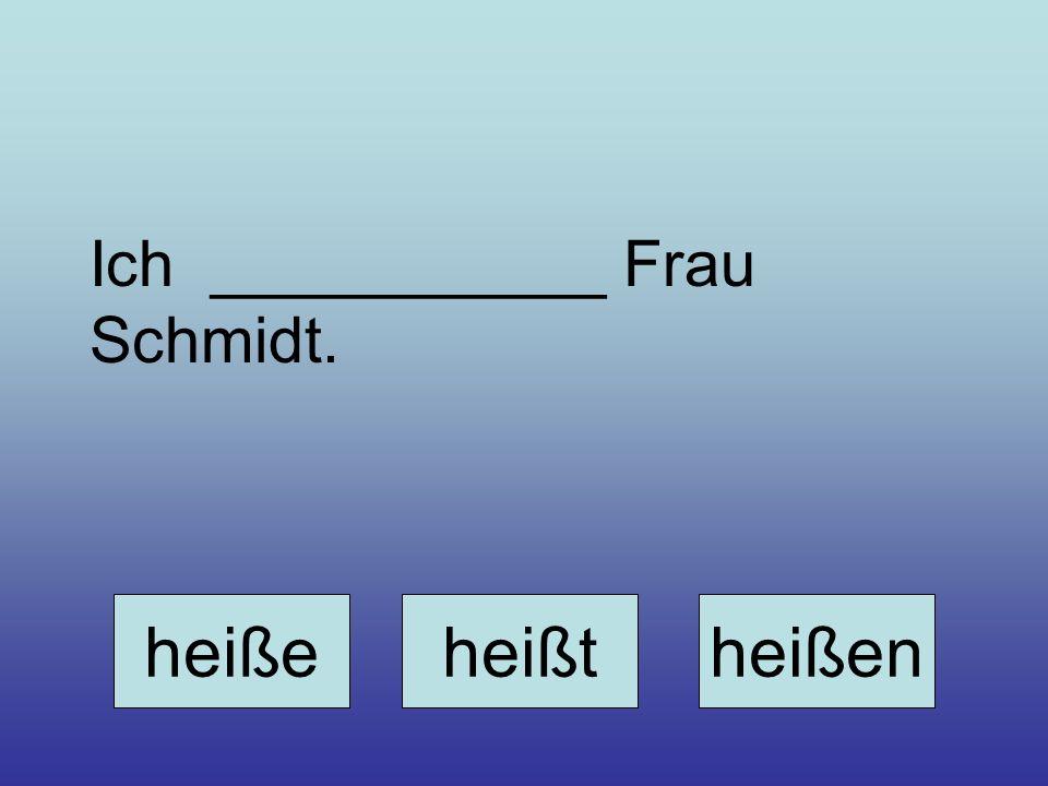 Ich ___________ Frau Schmidt.