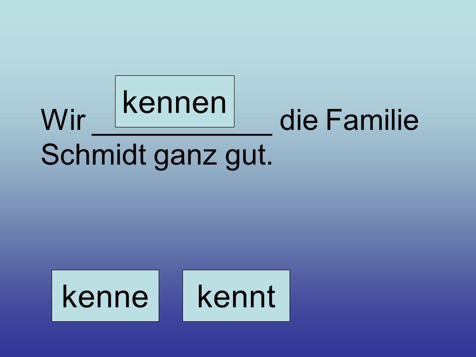 kennen Wir ___________ die Familie Schmidt ganz gut. kenne kennt