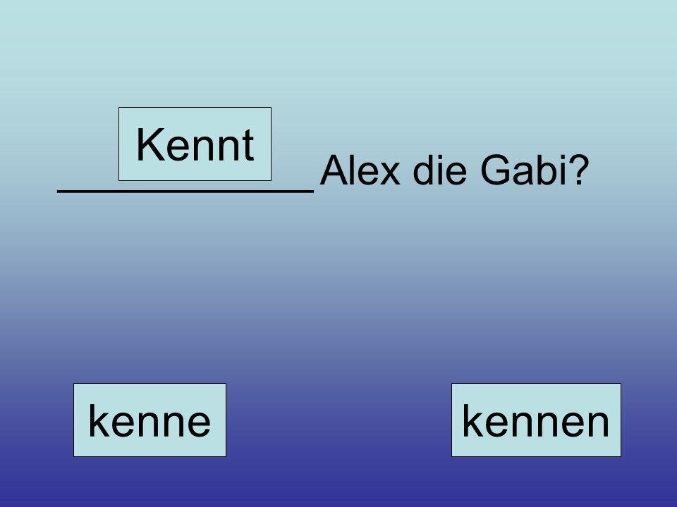 Kennt ___________ Alex die Gabi kenne kennen