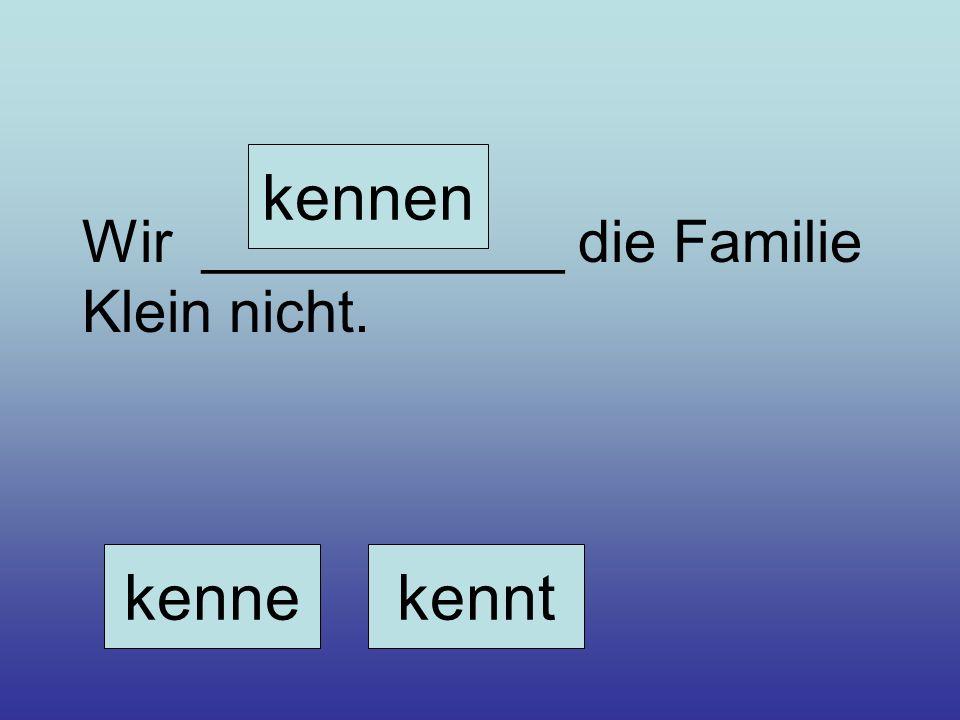 kennen Wir ___________ die Familie Klein nicht. kenne kennt