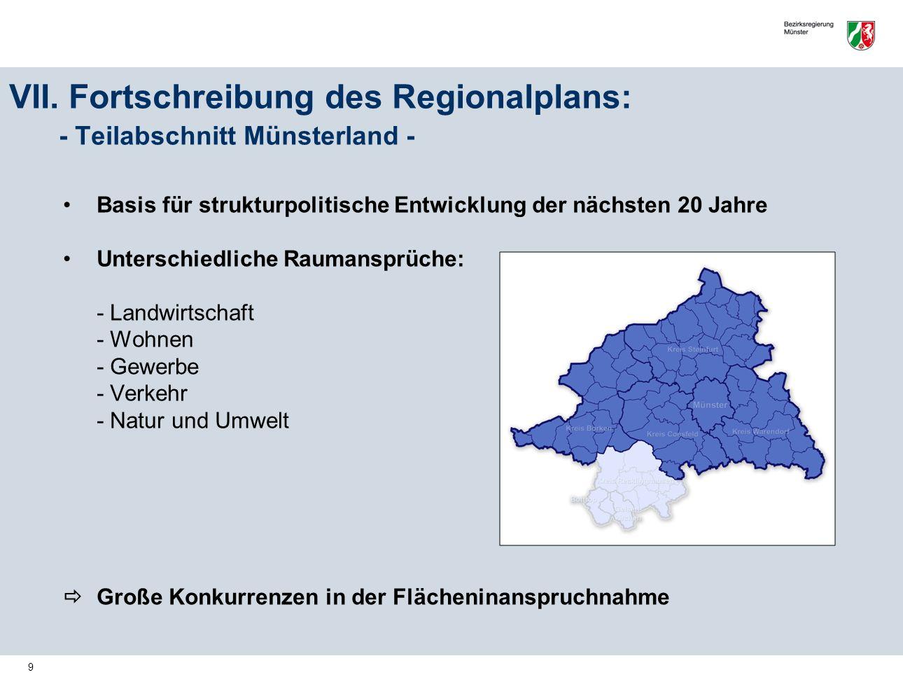 VII. Fortschreibung des Regionalplans: - Teilabschnitt Münsterland -