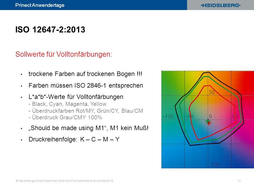 ISO 12647-2:2013 Sollwerte für Volltonfärbungen: