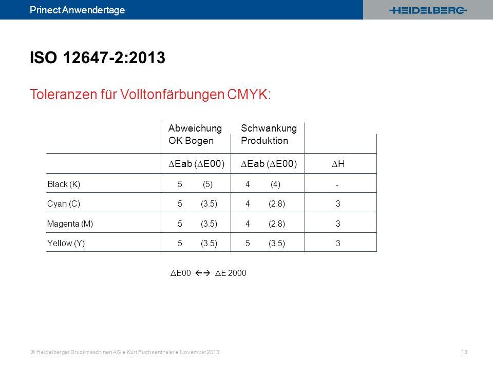 ISO 12647-2:2013 Toleranzen für Volltonfärbungen CMYK: