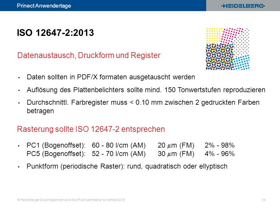 ISO 12647-2:2013 Datenaustausch, Druckform und Register