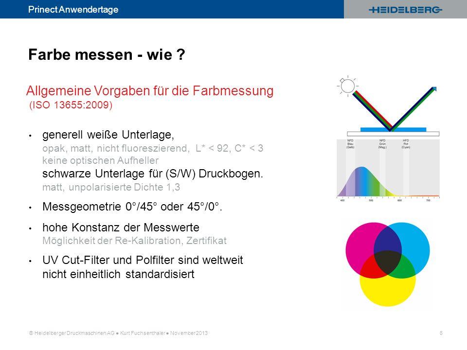 Farbe messen - wie Allgemeine Vorgaben für die Farbmessung (ISO 13655:2009)