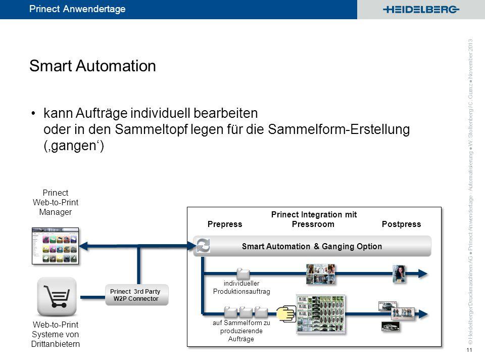 Smart Automation kann Aufträge individuell bearbeiten oder in den Sammeltopf legen für die Sammelform-Erstellung ('gangen')