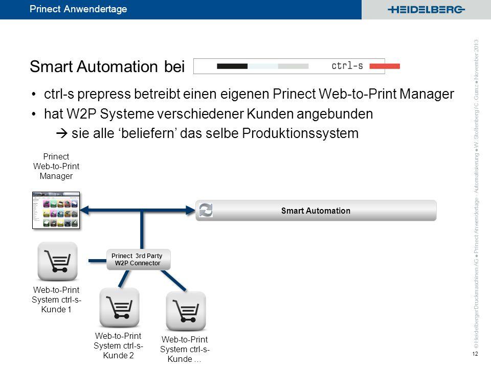 Smart Automation bei ctrl-s prepress betreibt einen eigenen Prinect Web-to-Print Manager. hat W2P Systeme verschiedener Kunden angebunden.