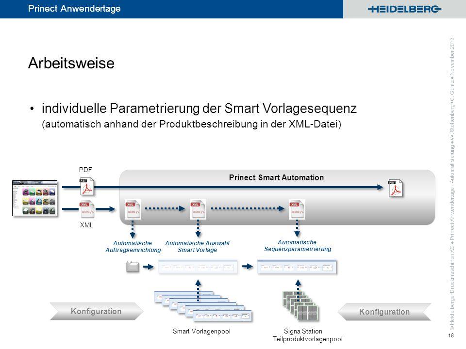 Arbeitsweise individuelle Parametrierung der Smart Vorlagesequenz (automatisch anhand der Produktbeschreibung in der XML-Datei)