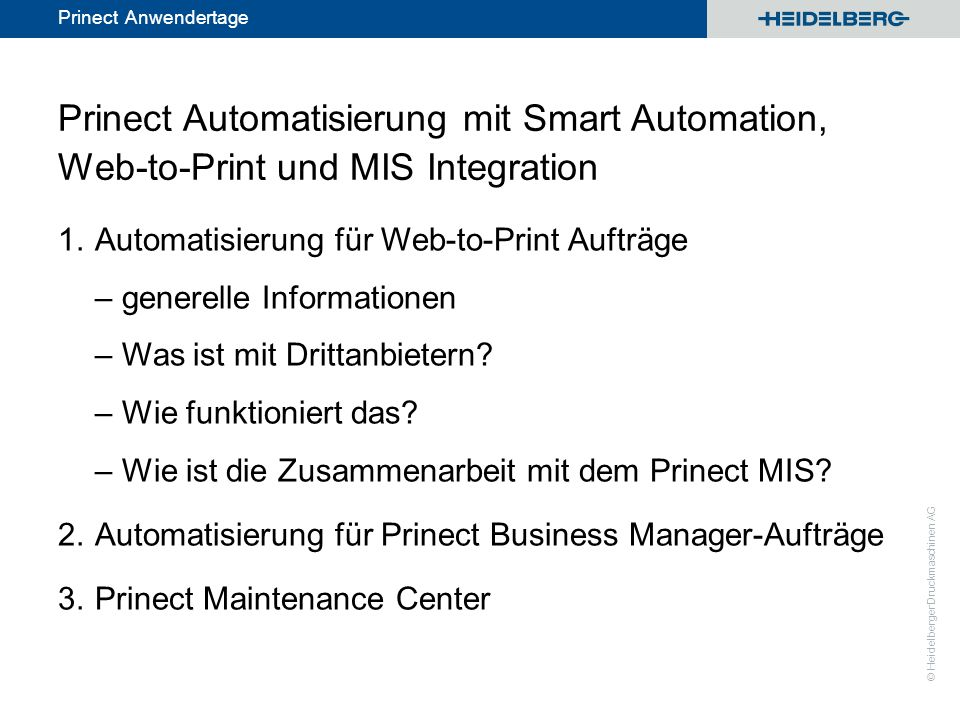 Prinect Automatisierung mit Smart Automation, Web-to-Print und MIS Integration