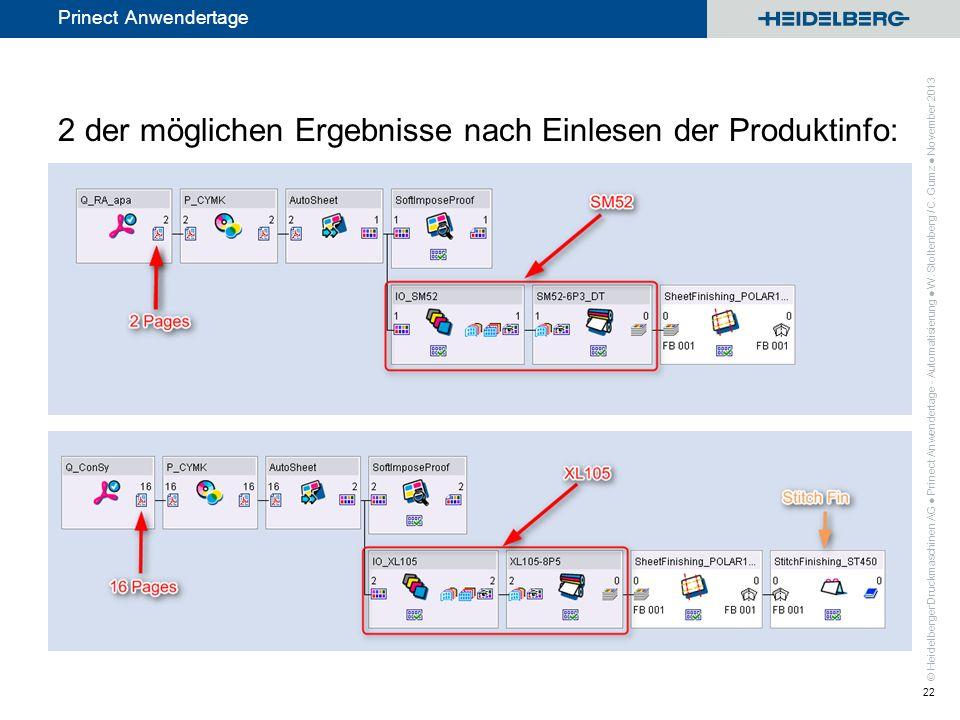 2 der möglichen Ergebnisse nach Einlesen der Produktinfo:
