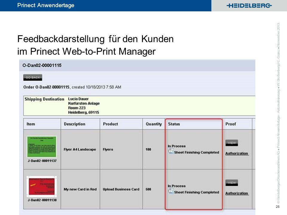 Feedbackdarstellung für den Kunden im Prinect Web-to-Print Manager