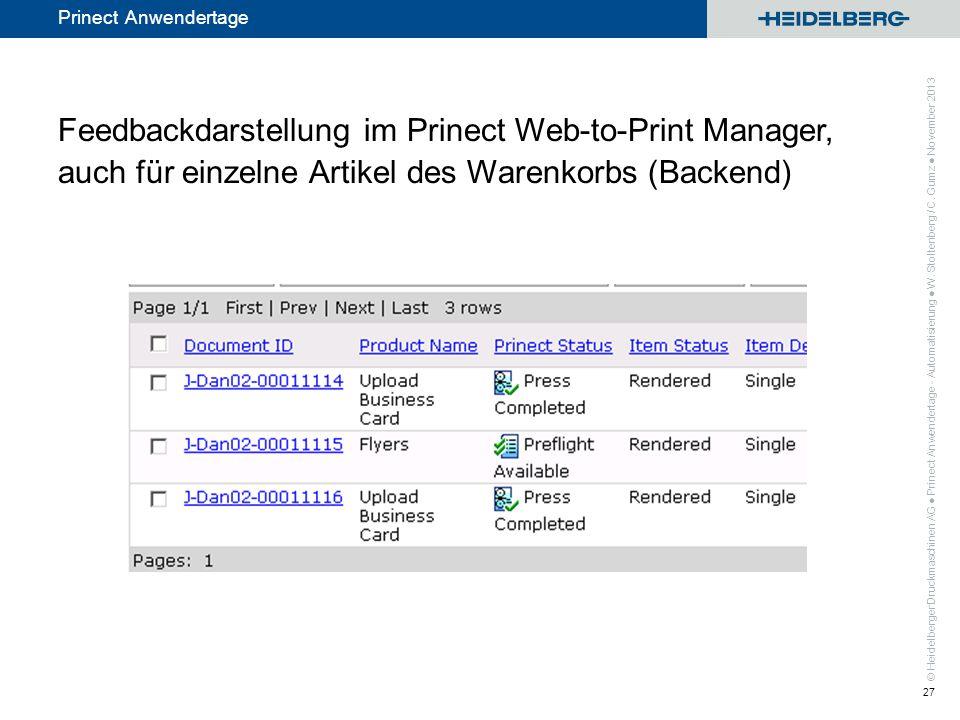 Feedbackdarstellung im Prinect Web-to-Print Manager, auch für einzelne Artikel des Warenkorbs (Backend)