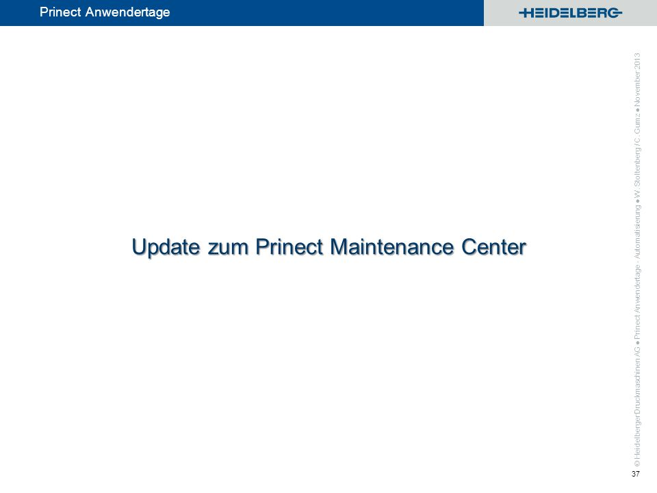 Update zum Prinect Maintenance Center