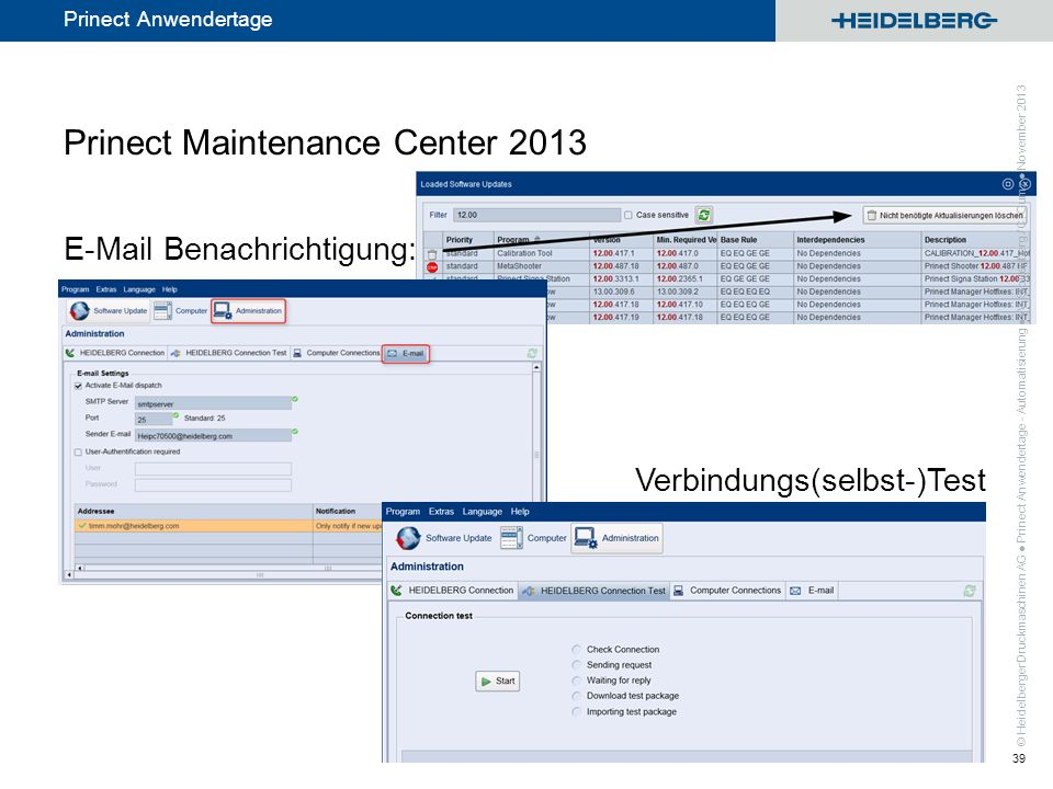 Prinect Maintenance Center 2013 E-Mail Benachrichtigung: