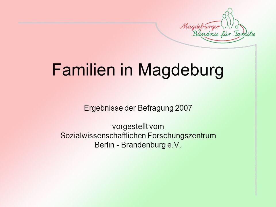 Familien in Magdeburg Ergebnisse der Befragung 2007 vorgestellt vom