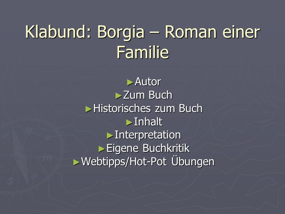 Klabund: Borgia – Roman einer Familie