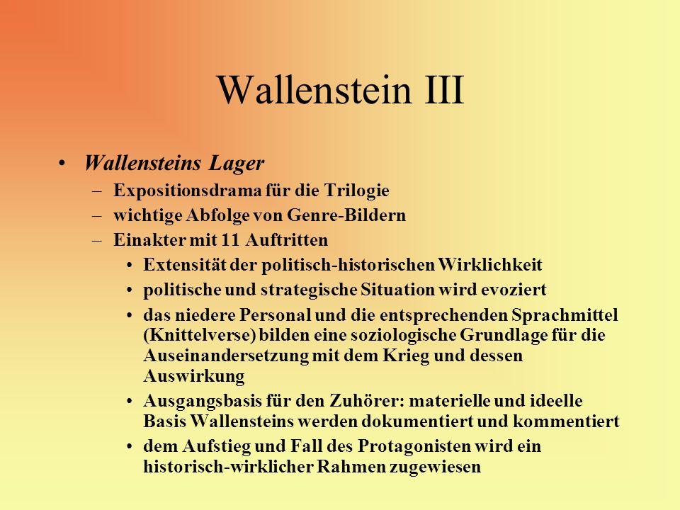Wallenstein III Wallensteins Lager Expositionsdrama für die Trilogie