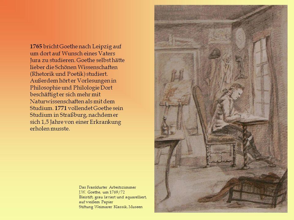 1765 bricht Goethe nach Leipzig auf um dort auf Wunsch eines Vaters Jura zu studieren. Goethe selbst hätte lieber die Schönen Wissenschaften (Rhetorik und Poetik) studiert. Außerdem hört er Vorlesungen in Philosophie und Philologie Dort beschäftigt er sich mehr mit Naturwissenschaften als mit dem Studium. 1771 vollendet Goethe sein Studium in Straßburg, nachdem er sich 1,5 Jahre von einer Erkrankung erholen musste.