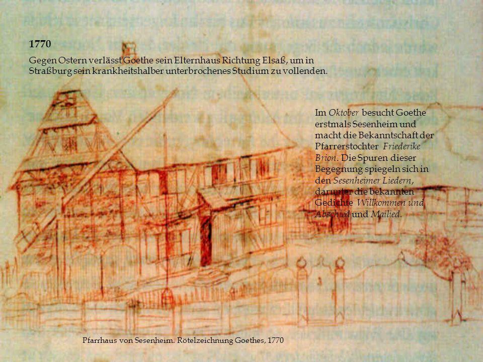 Pfarrhaus von Sesenheim. Rötelzeichnung Goethes, 1770