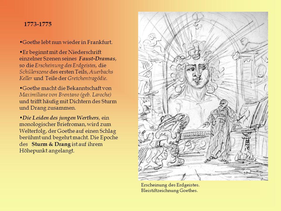 1773-1775 Goethe lebt nun wieder in Frankfurt.