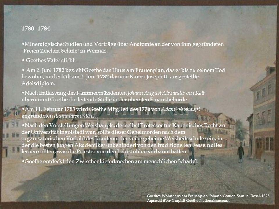 1780- 1784 Mineralogische Studien und Vorträge über Anatomie an der von ihm gegründeten Freien Zeichen-Schule in Weimar.