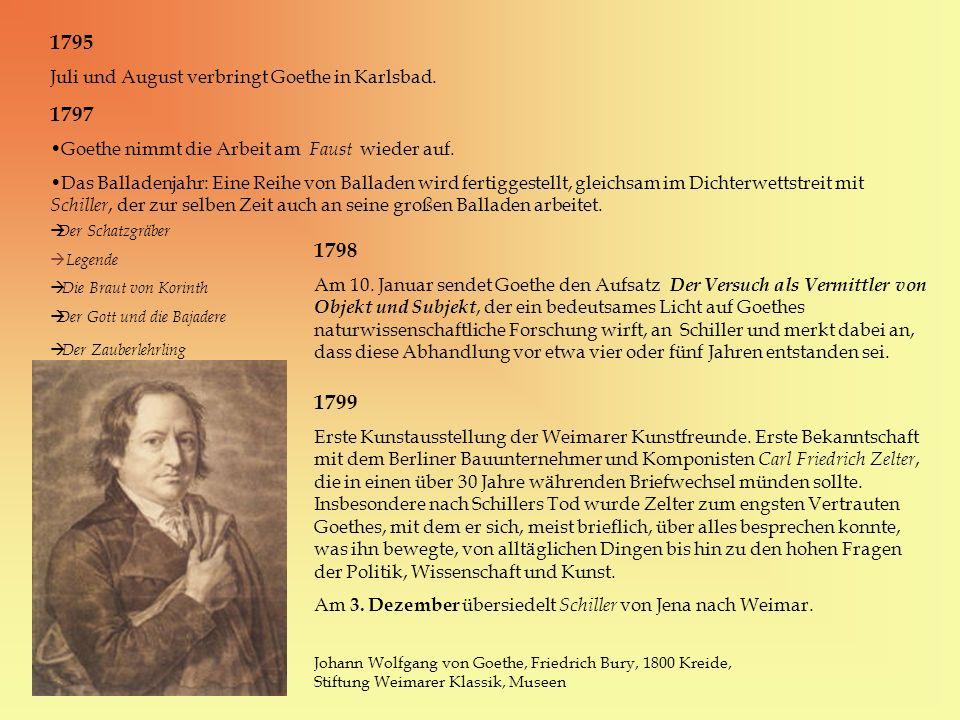 1795 1797 1798 1799 Juli und August verbringt Goethe in Karlsbad.