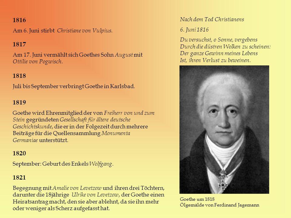 1816 1817 1818 1819 1820 1821 Nach dem Tod Christianens