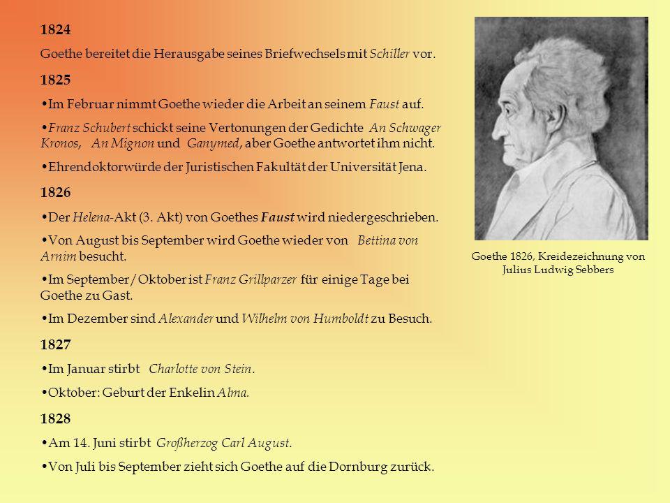Goethe 1826, Kreidezeichnung von Julius Ludwig Sebbers