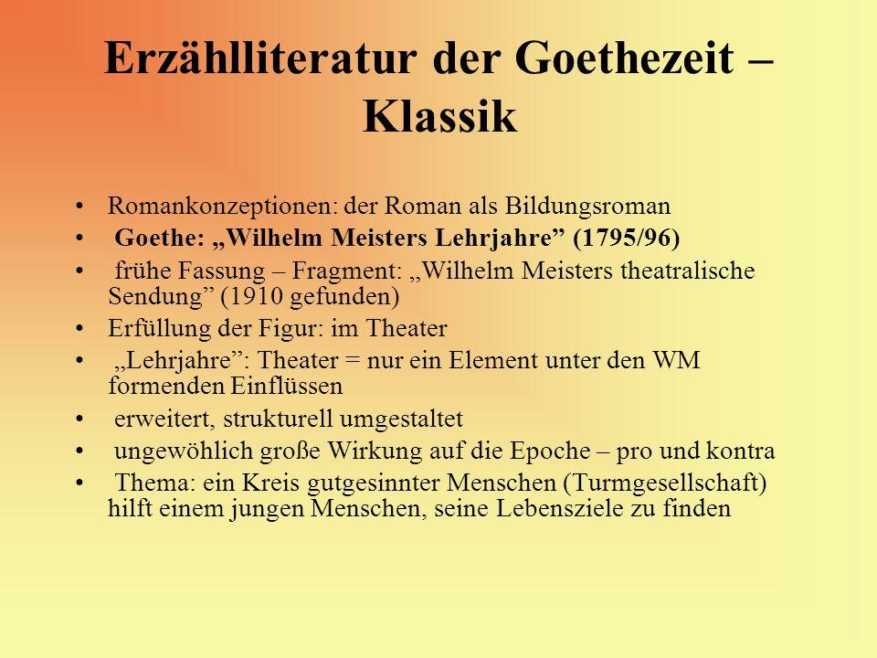 Erzählliteratur der Goethezeit – Klassik