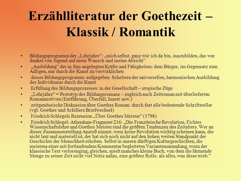 Erzählliteratur der Goethezeit – Klassik / Romantik