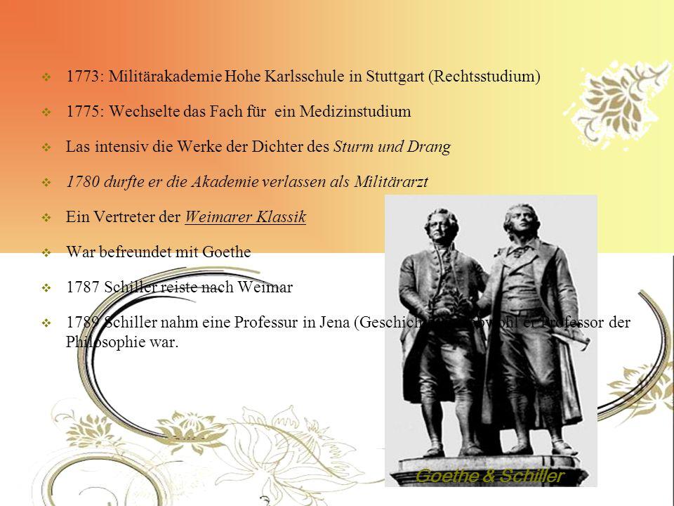 1773: Militärakademie Hohe Karlsschule in Stuttgart (Rechtsstudium)