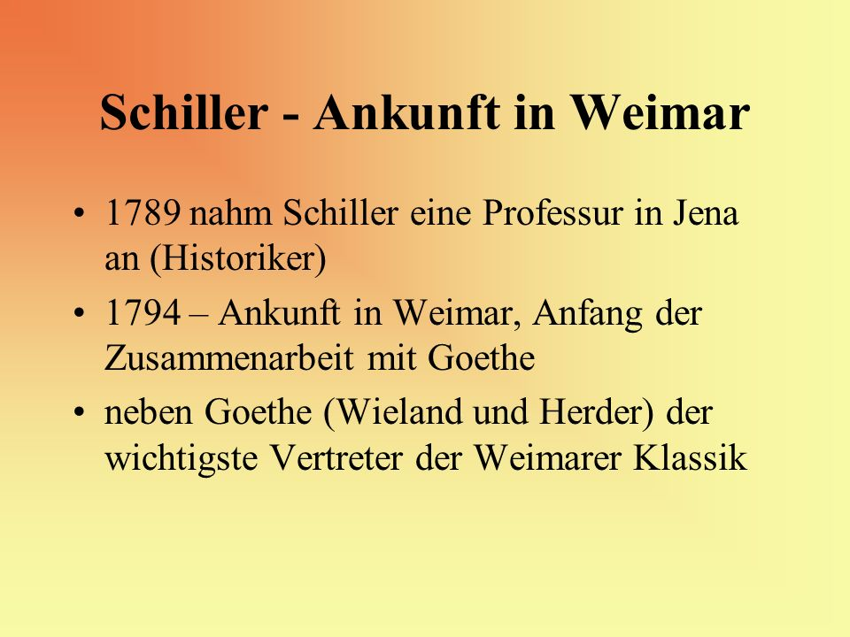 Schiller - Ankunft in Weimar