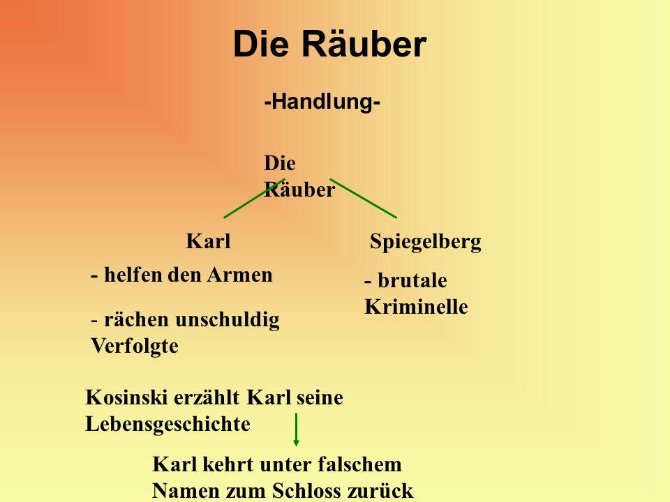 Die Räuber -Handlung- Die Räuber Karl Spiegelberg - helfen den Armen