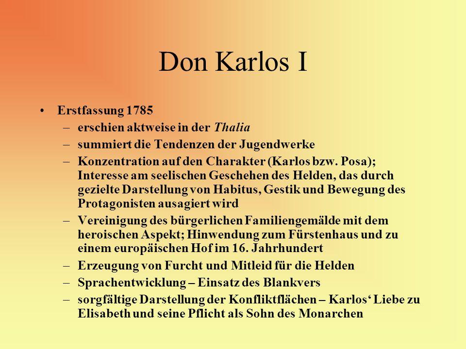 Don Karlos I Erstfassung 1785 erschien aktweise in der Thalia