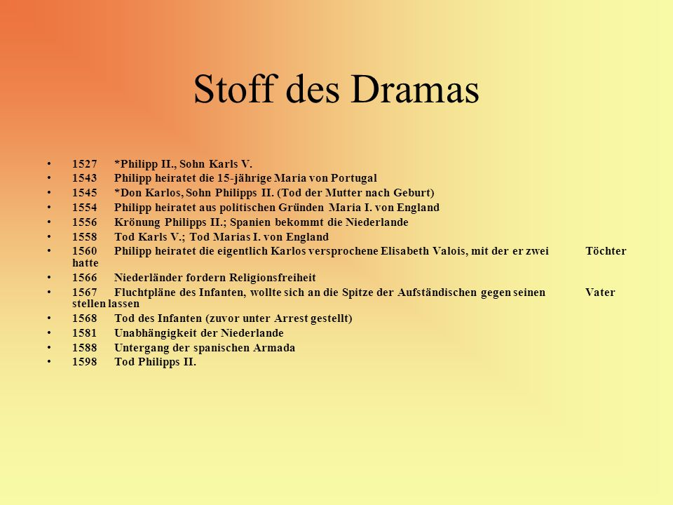 Stoff des Dramas 1527 *Philipp II., Sohn Karls V.