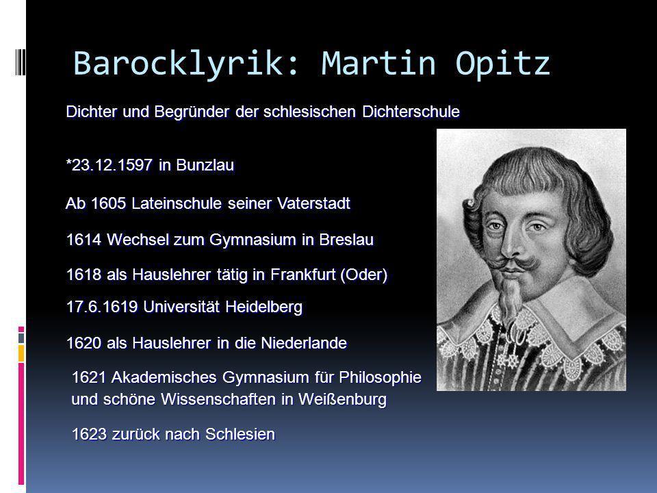 Barocklyrik: Martin Opitz