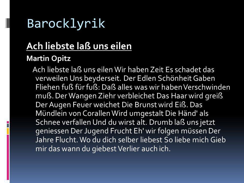 Barocklyrik Ach liebste laß uns eilen Martin Opitz