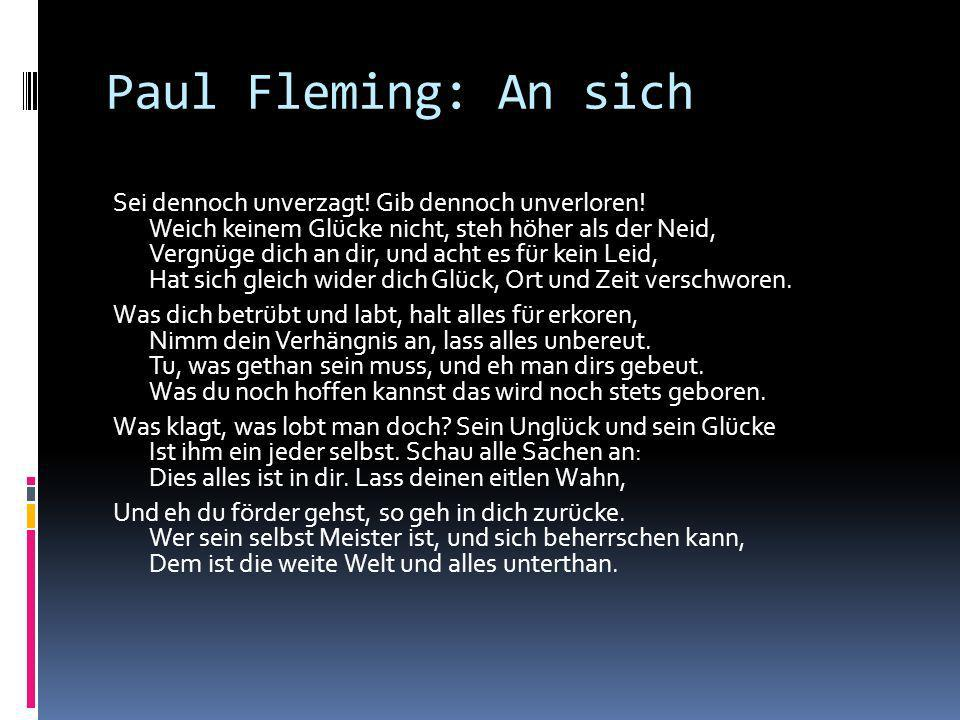 Paul Fleming: An sich