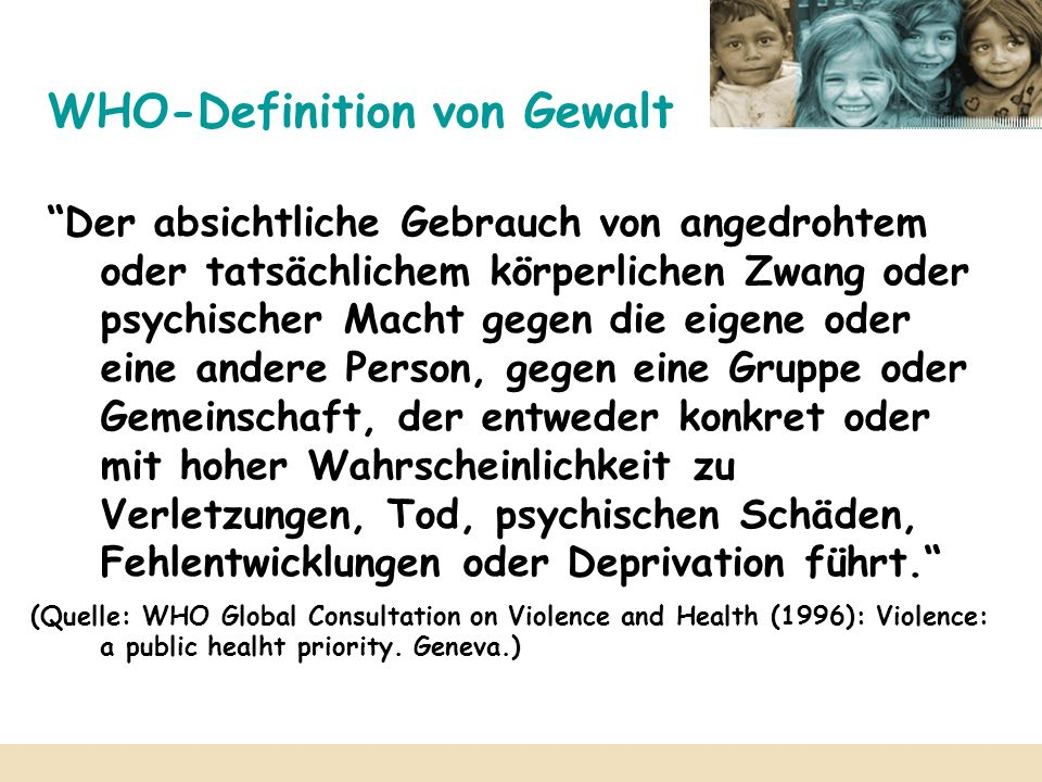 WHO-Definition von Gewalt