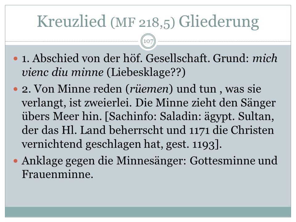 Kreuzlied (MF 218,5) Gliederung