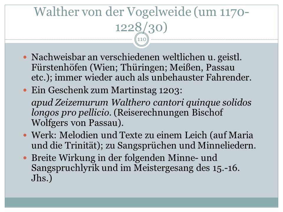 Walther von der Vogelweide (um 1170-1228/30)